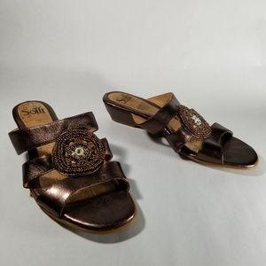 Sofft Metallic Brown Leather Embellished Sandals